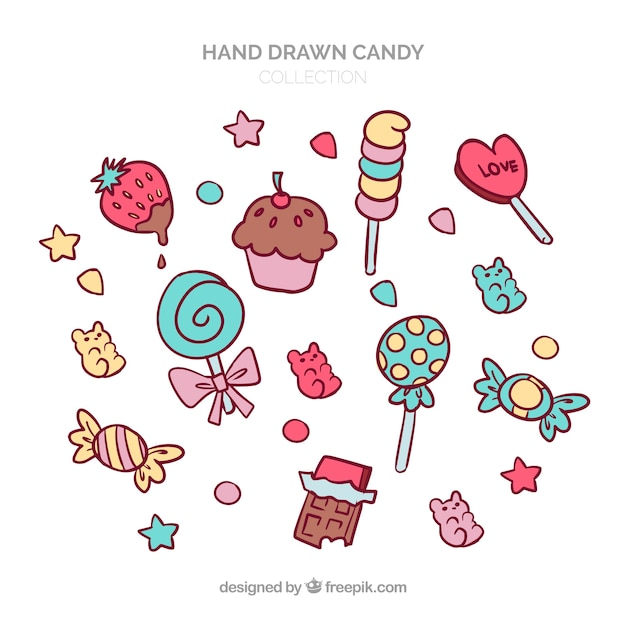Colorful candies collection in hand drawn style Free Vector