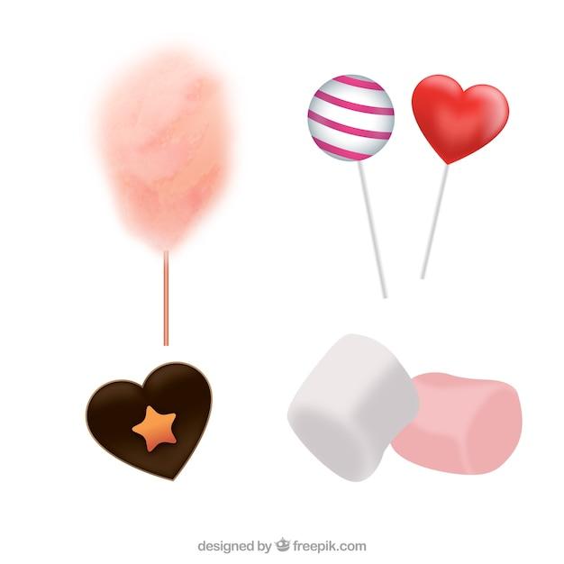 Collezione di caramelle colorate in stile realistico Vettore gratuito