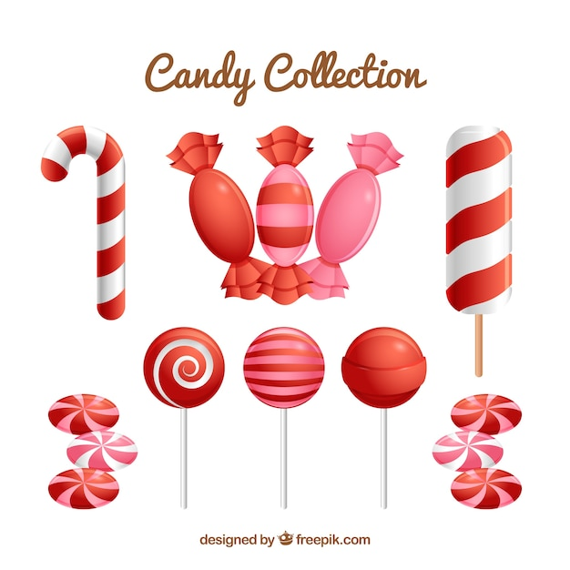 Colorful candies collection in realistic style Free Vector