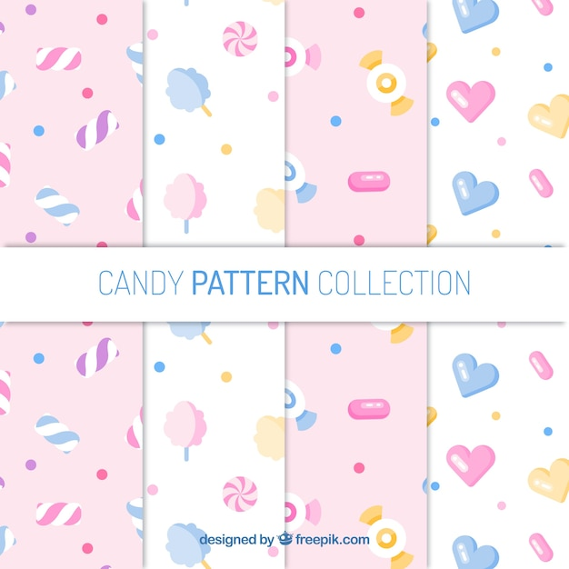 Colorful candies patterns collection in flat style Free Vector