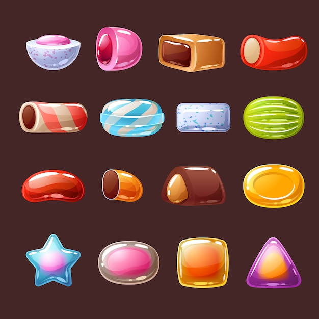 Colorful candies sweets icons  illustration. Premium Vector