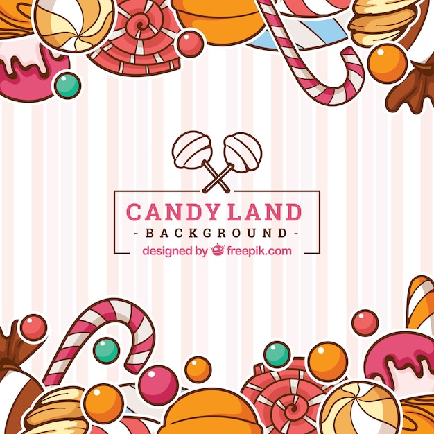 Colorful candy land background in hand drawn style Free Vector