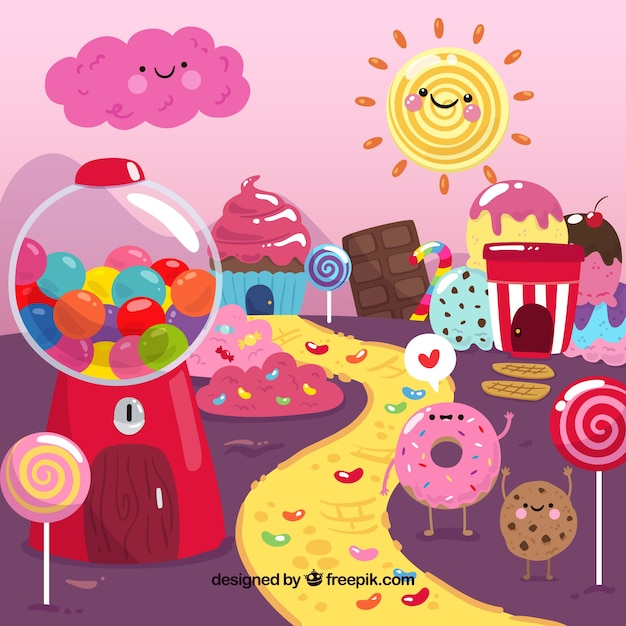 Colorful candy land background Free Vector