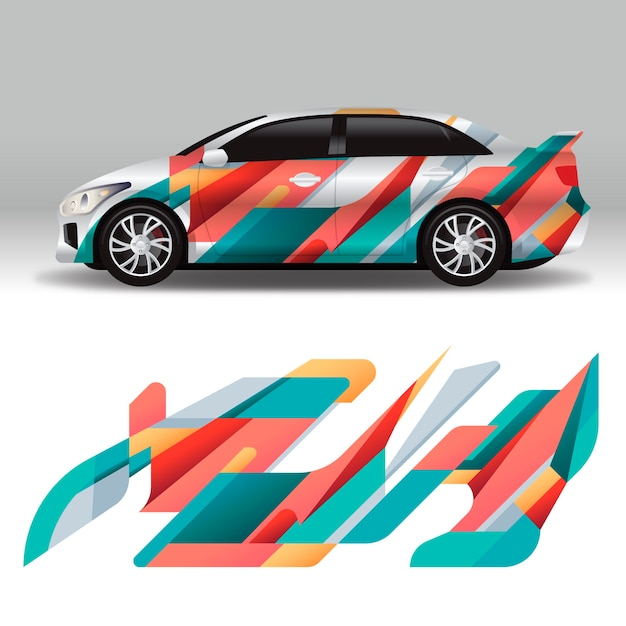 Colorful car wrap design Premium Vector