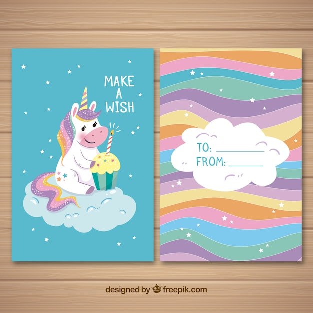 Colorful card with cute unicorn and cupcake Free Vector