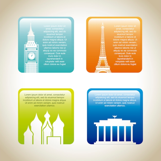 Colorful cards of places of world  vector illustration Premium Vector