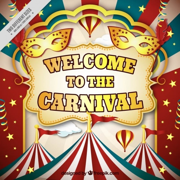 colorful carnival background with marquees in realistic style vector