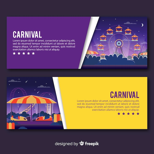 Colorful carnival banners Free Vector