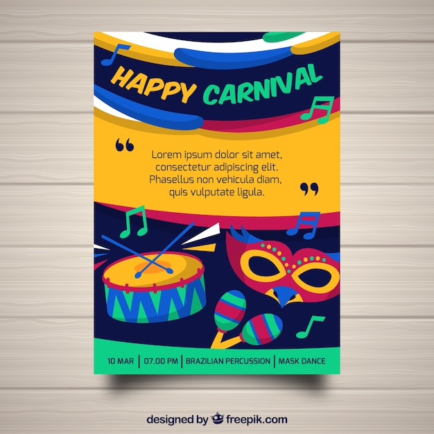 colorful carnival flyer template vector free download