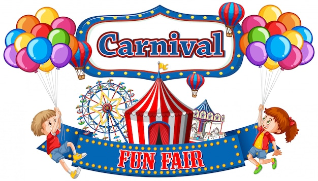 Colorful carnival funfair banner with boy and girl Free Vector