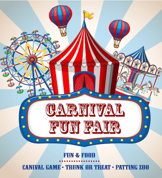 Colorful carnival funfair banner Free Vector