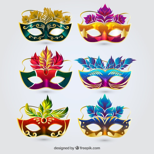 Colorful carnival mask collection of six Free Vector