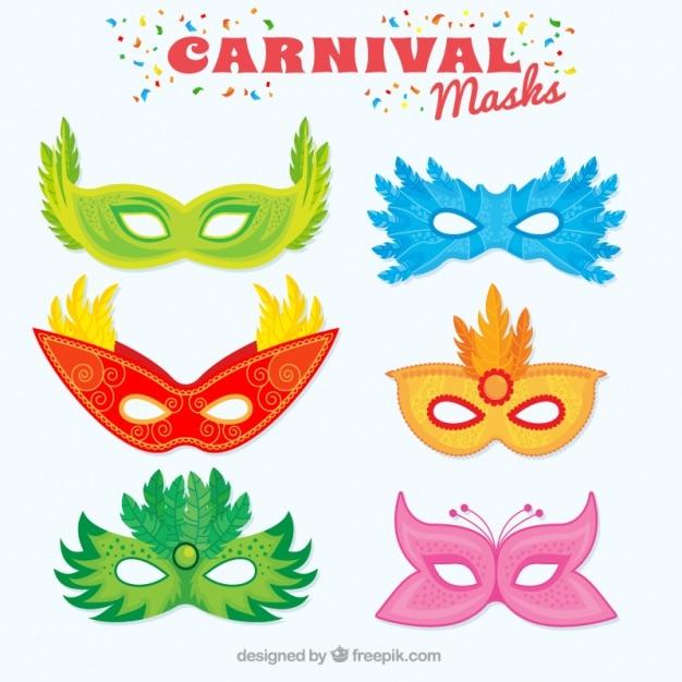 Maschere Di Carnevale Colorate Con Grandi Disegni Vettore Gratis