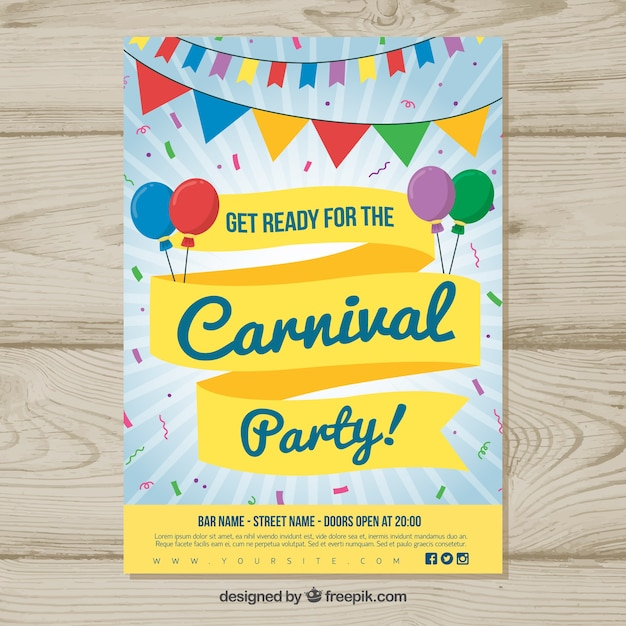 colorful carnival poster template vector free download