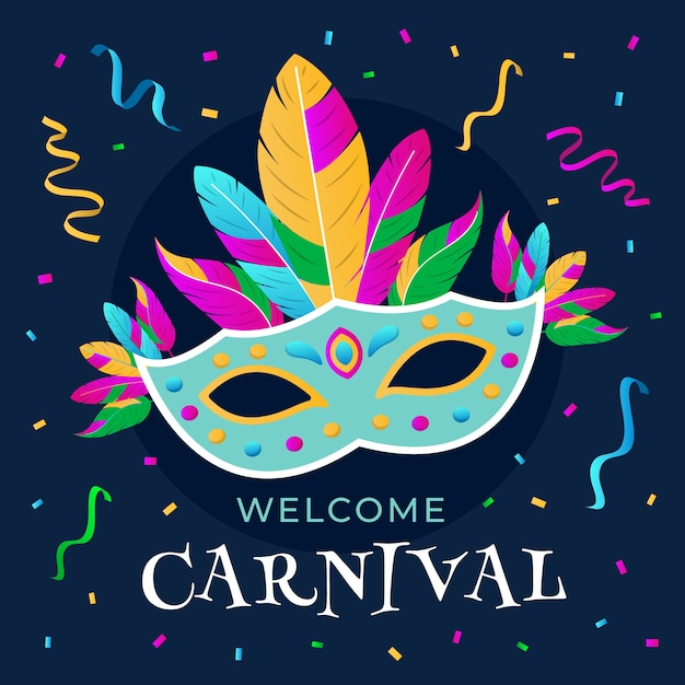 Colorful carnival with mask and feathers Free Vector