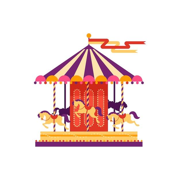 Красочные карусель с лошадьми, элемент парка развлечений в плоский стиль, изолированные на белом фоне. детские развлечения, карусель, веселый карнавал, иллюстрация Premium векторы