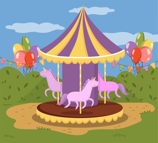 Красочная карусель с лошадьми, веселая карусель в иллюстрации парка развлечений, красочный Premium векторы