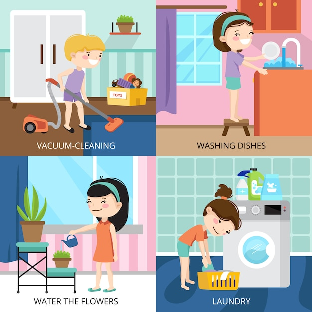 Colorful cartoon 2x2 design concept with kids cleaning house isolated vector illustration Free Vector