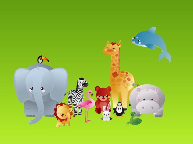Colorful cartoon animals characters