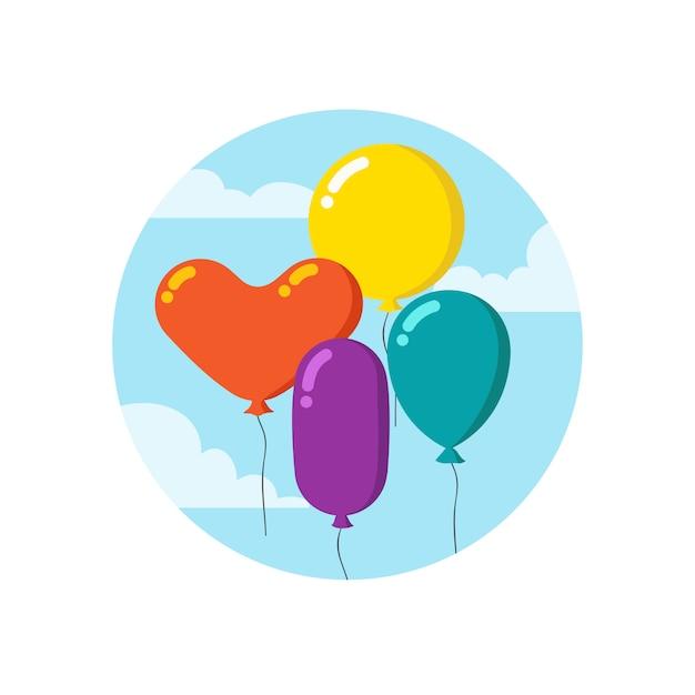 Colorful cartoon bunch of balloons. Premium Vector