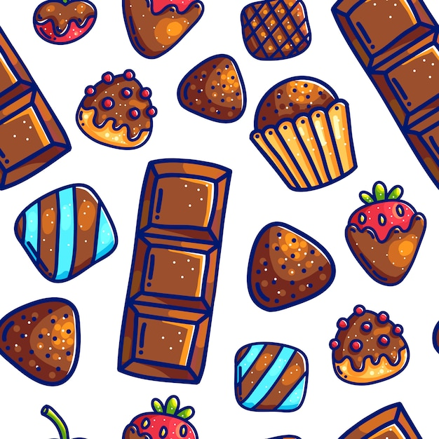 Colorful cartoon doodle with outlines sweet candies seampless pattern background for wrapping paper and packaging.  chocolates and berries. Premium Vector