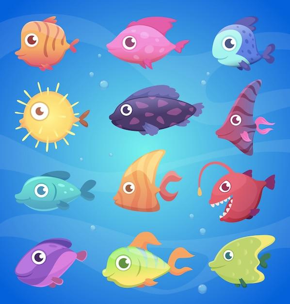 カラフルな漫画の魚。大きな目で面白い水中動物海と海の生活ベクトルイラスト Premiumベクター