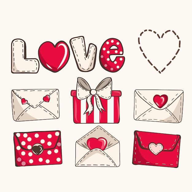 カラフルな漫画の手紙セット。愛のメッセージが入った封筒。心と愛の宣言と手描きのロマンチックな漫画の封筒 Premiumベクター