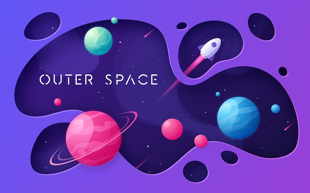 Colorful cartoon outer space background Premium Vector