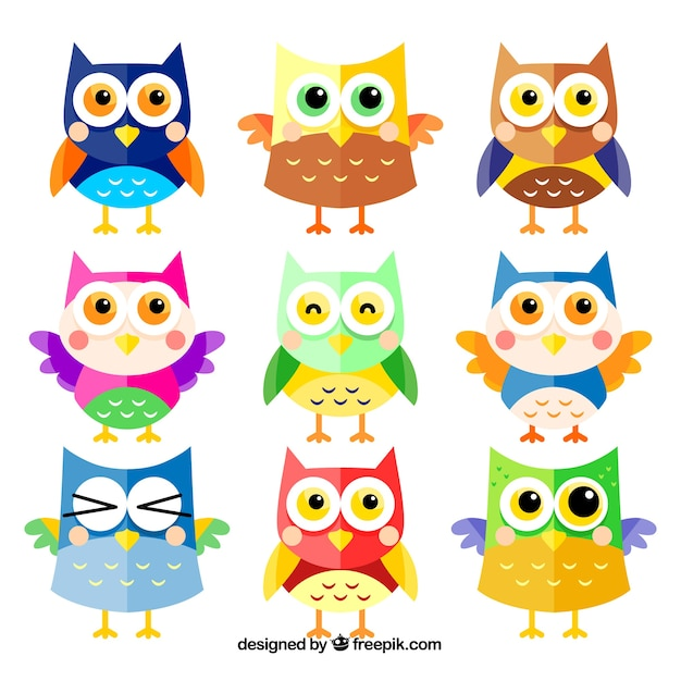 Colorful cartoon owl set of nine