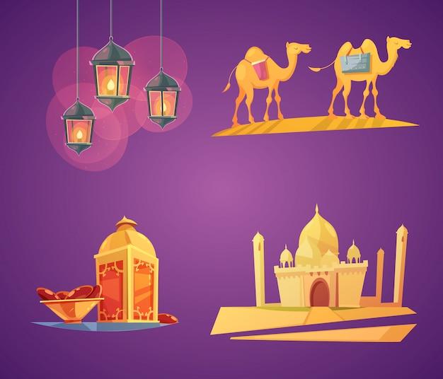 Colorful cartoon ramadan elements card set Free Vector