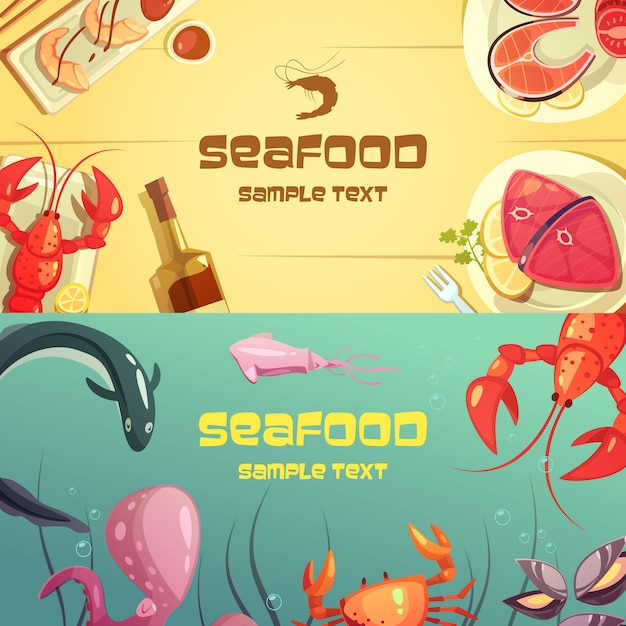 Colorful cartoon seafood banners illustration Free Vector