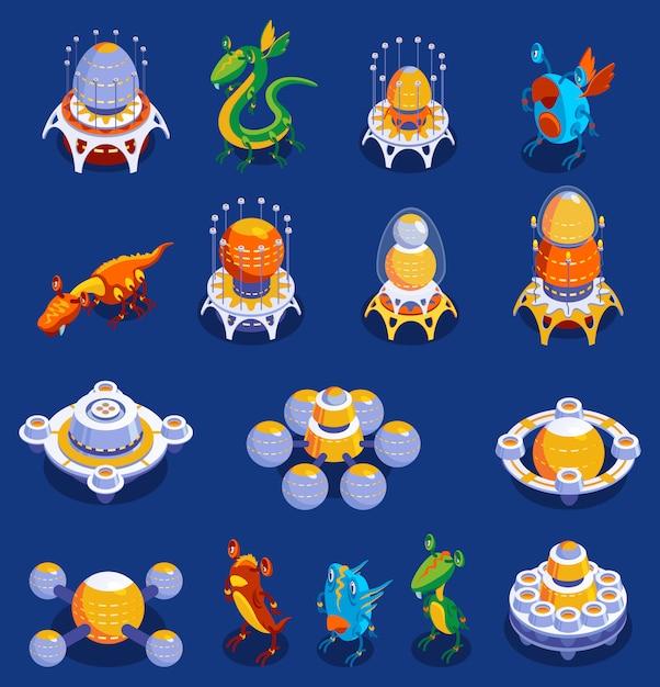 Красочный мультфильм набор милых монстров и инопланетных существ и межпланетных самолетов для детских игр изолированных иллюстрация Бесплатные векторы