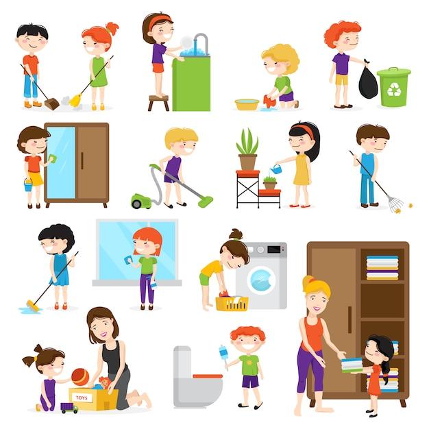 カラフルな漫画の部屋を掃除し、白い背景のveに分離された彼らの母を助ける子供たちと設定 無料ベクター