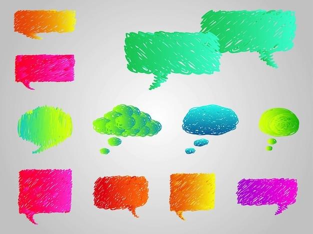 Colorful cartoon speech bubbles vector Free Vector