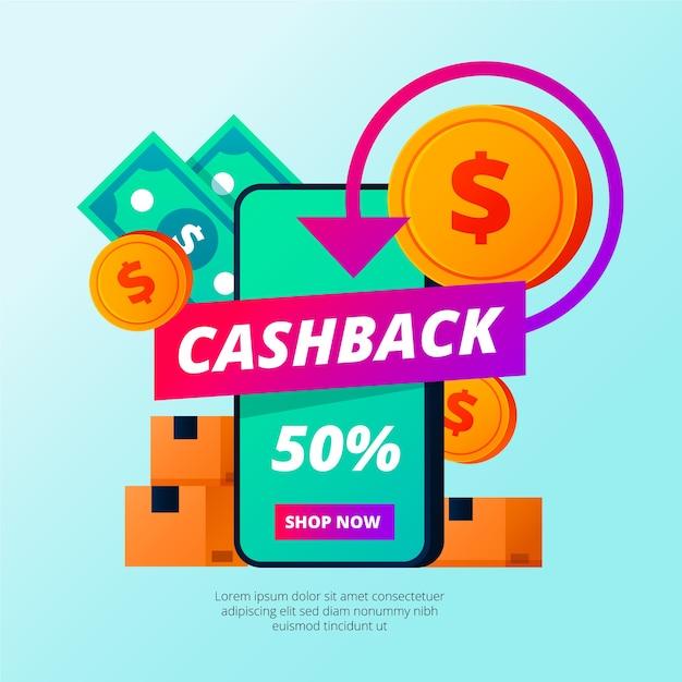 Concetto di cashback colorato con monete Vettore gratuito