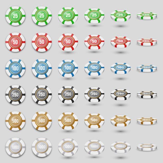 Красочные фишки казино значок набор на белый с прозрачными оттенками. цветные игровые фишки в разных ракурсах. высокая подробные реалистичные иллюстрации. Premium векторы
