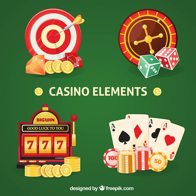 Colorful casino elements collection Free Vector