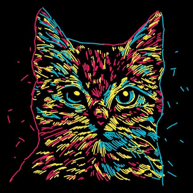 Colorful cat head illustration Premium Vector