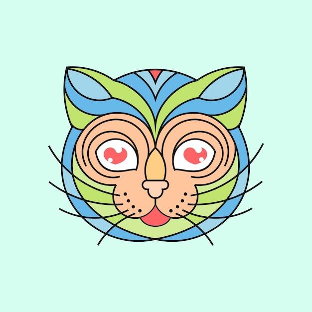 カラフルな猫のイラスト Premiumベクター