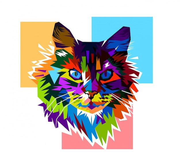 colorful cat pop art vector premium download