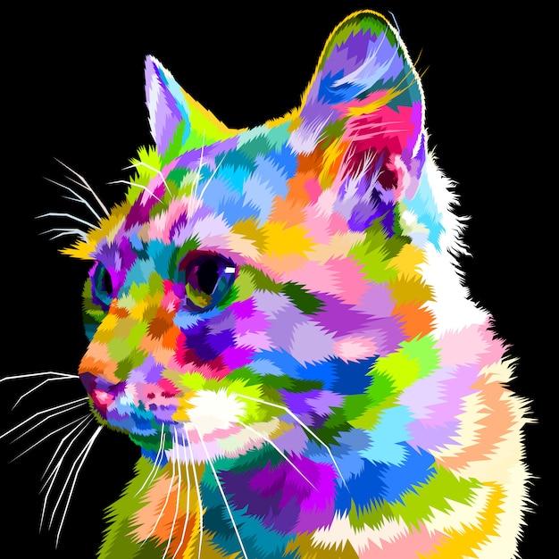 Colorful cat's face looks sideways Premium Vector