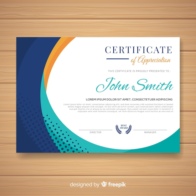 Colorful Certificate Template With Flat Design Vector