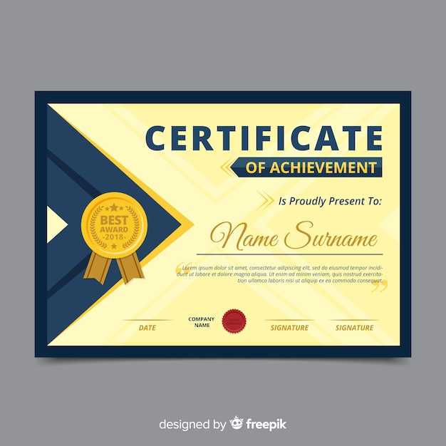 Colorful certificate template with flat design Free Vector