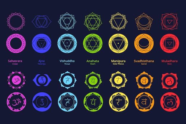 Коллекция красочных чакр Premium векторы