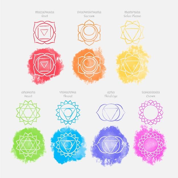 Chakra colorati impostare il concetto Vettore gratuito