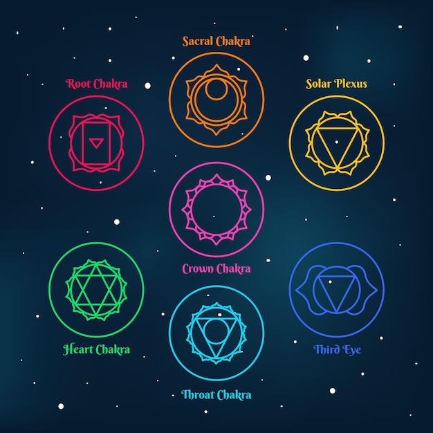 Набор красочных чакр концепции Бесплатные векторы