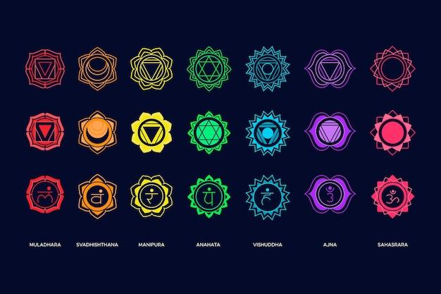 Набор красочных чакр Бесплатные векторы
