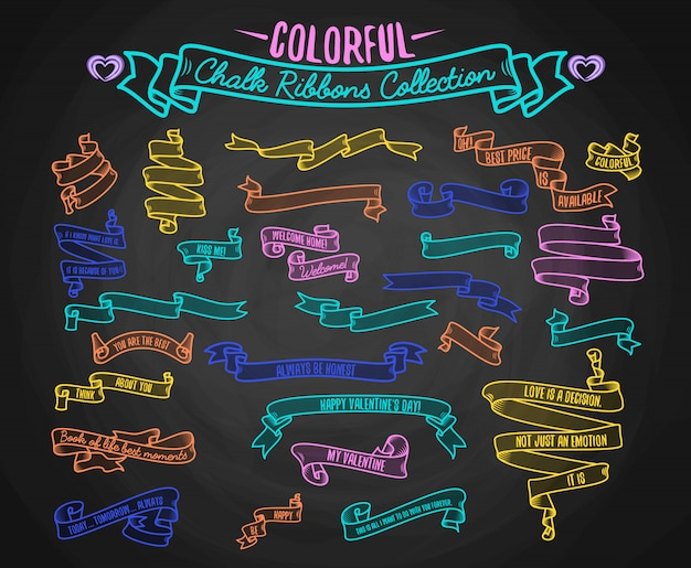 Colorful chalk ribbons collection Free Vector