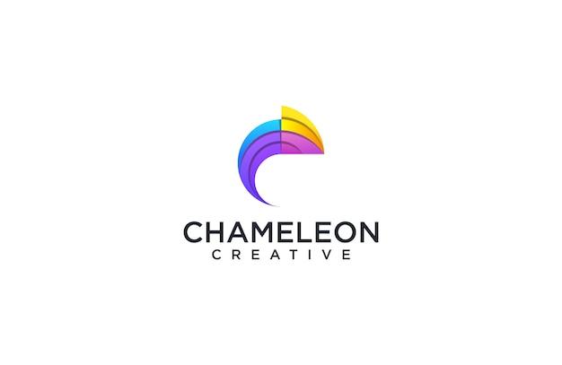 Colorful chameleon logo Premium Vector