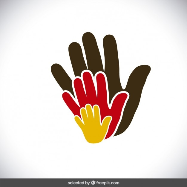 Colorful charity hands